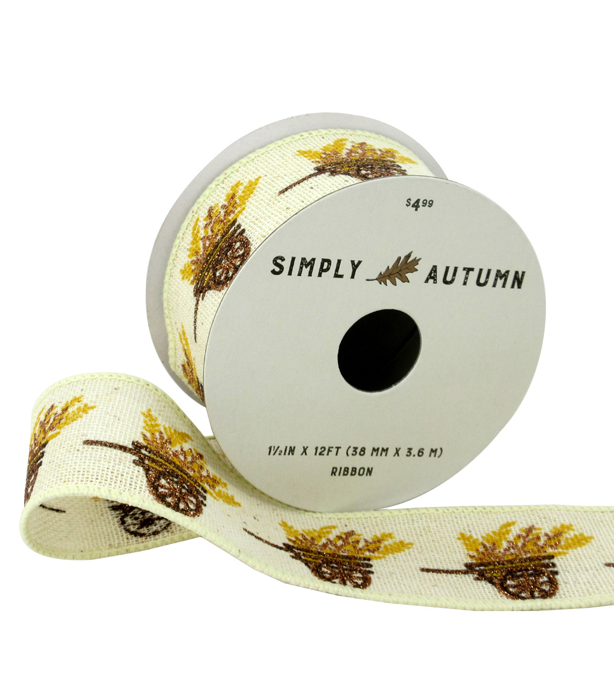Simply Autumn Ribbon 1.5\u0027\u0027x12\u0027-Cart of Wheat