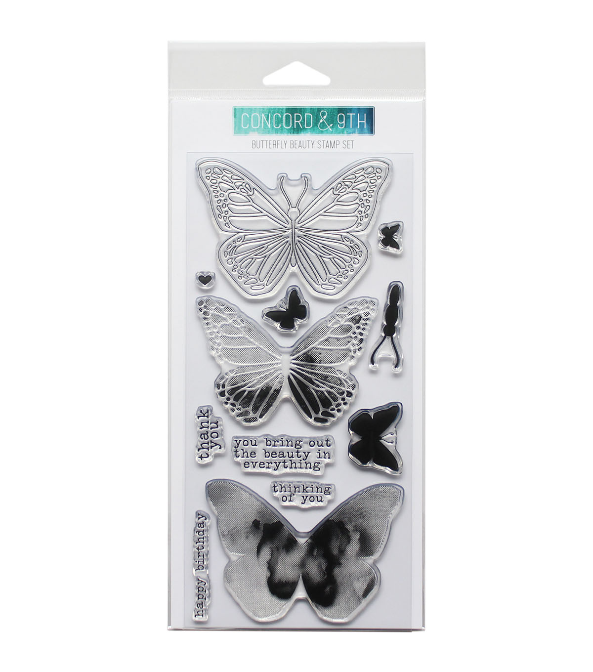Concord & 9th 12 pk Clear Stamps-Butterfly