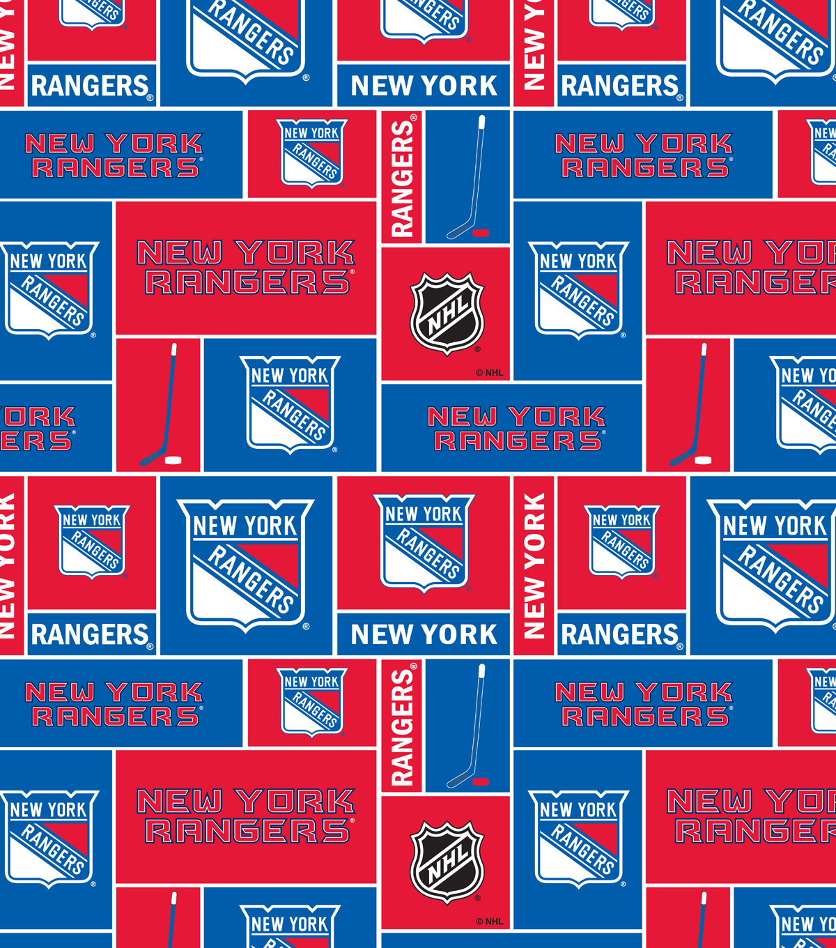 New York Rangers Cotton Fabric 43u0027u0027 Block