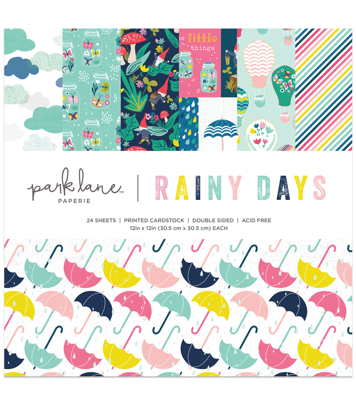 Park Lane 12\u0022x12\u0022 Paper Pad-Rainy Days