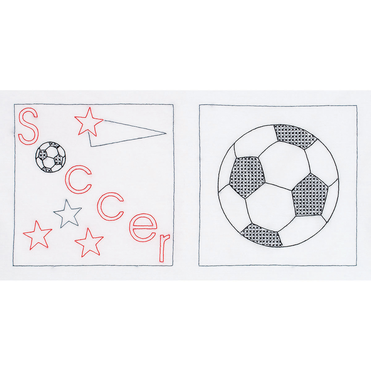 Jack Dempsey Stamped Quilt Blocks Soccer White