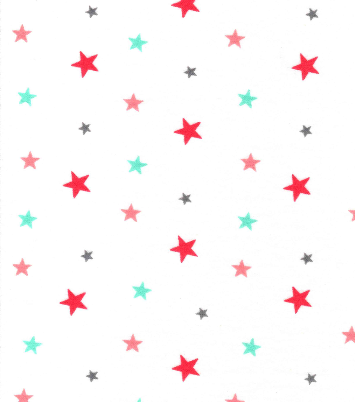 Snuggle Flannel Fabric -Coral & Mint Stars