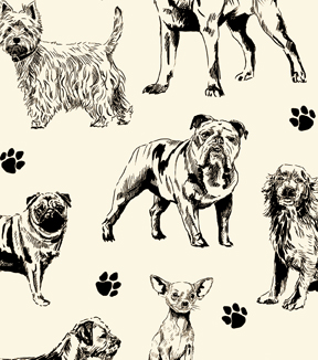 Snuggle Flannel Fabric -Black & Ivory Realistic Dogs Sketch