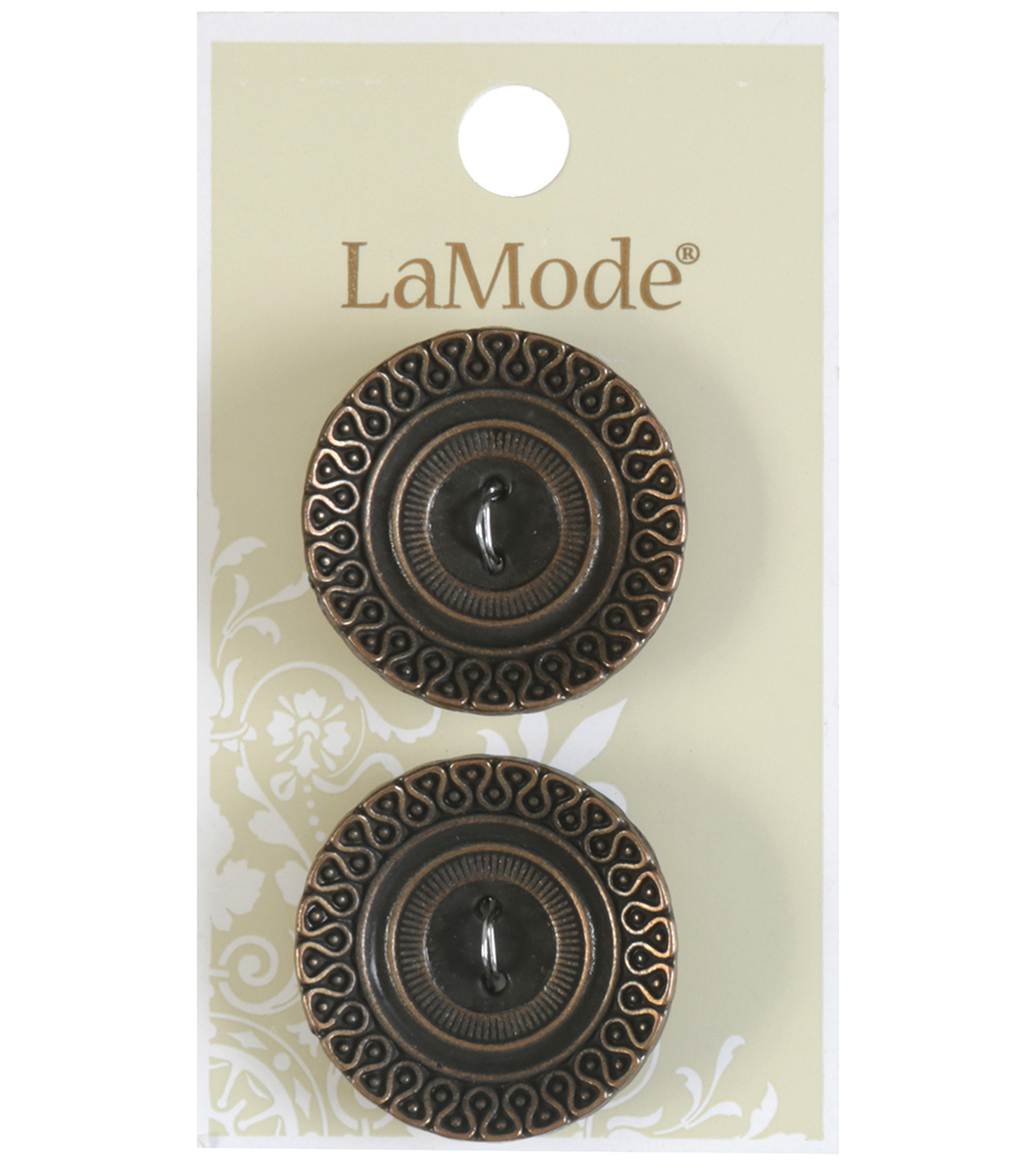LaMode 2 Hole Antique Gold Metal Cupped Buttons 28mm