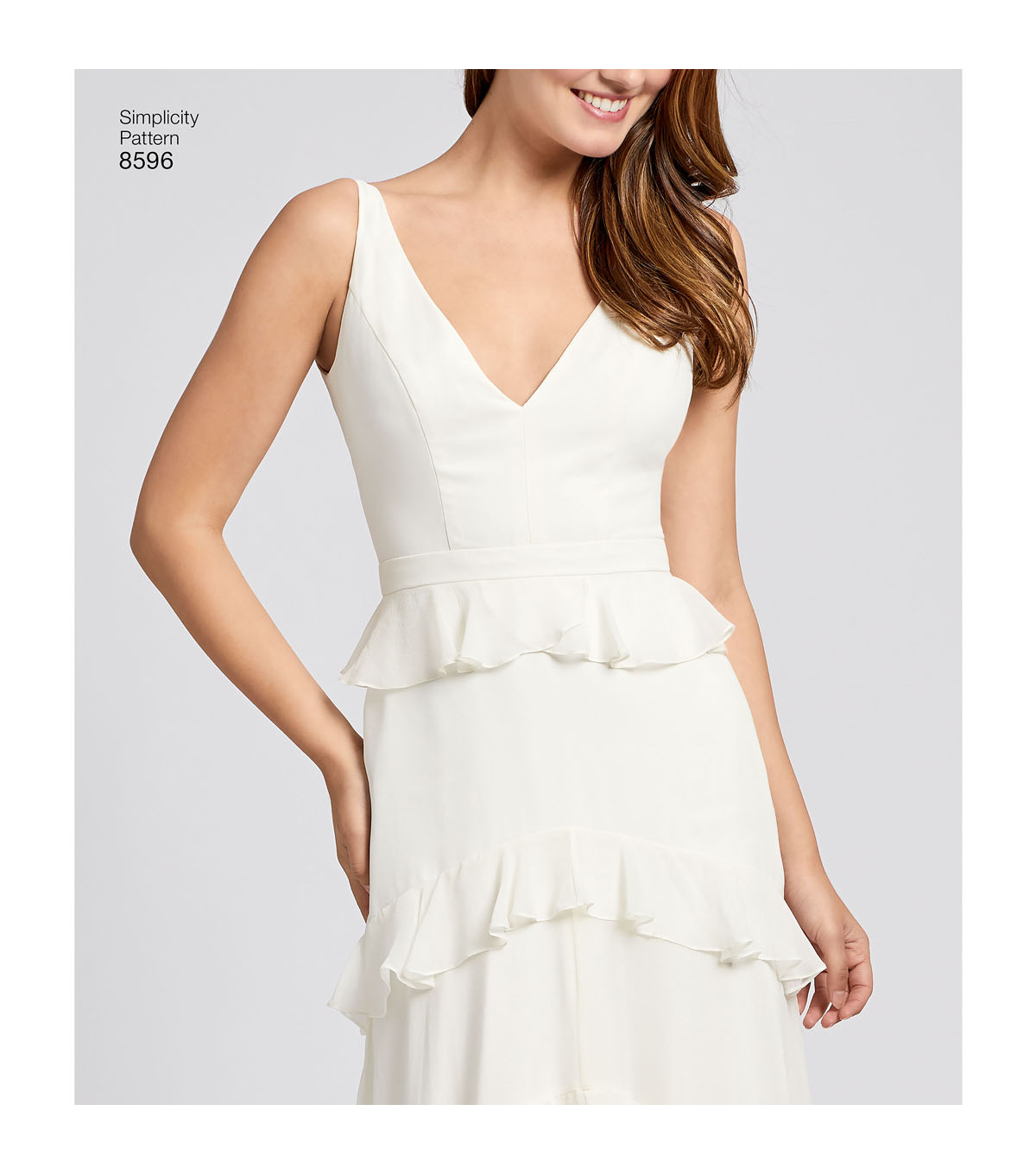 Simplicity Pattern 8596 Misses\u0027 Gown with Train Option-Size P5 (12-20)
