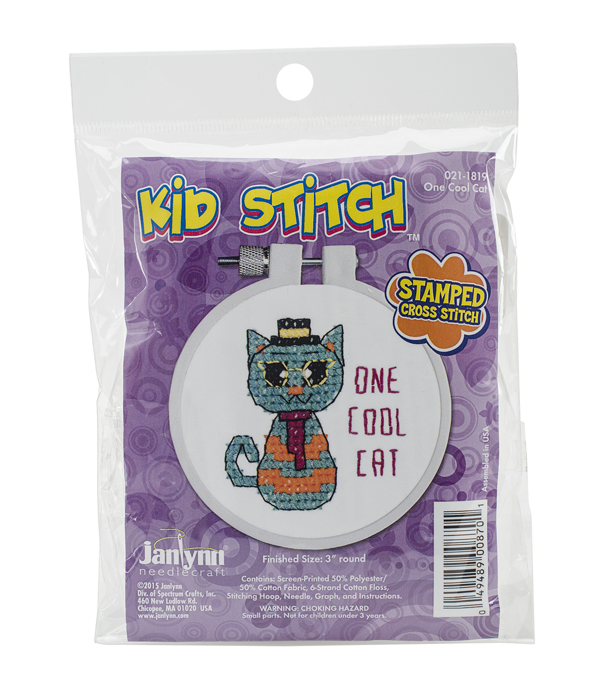 Janlynn Kid Stitch Stamped Cross Stitch Kit-One Cool Cat