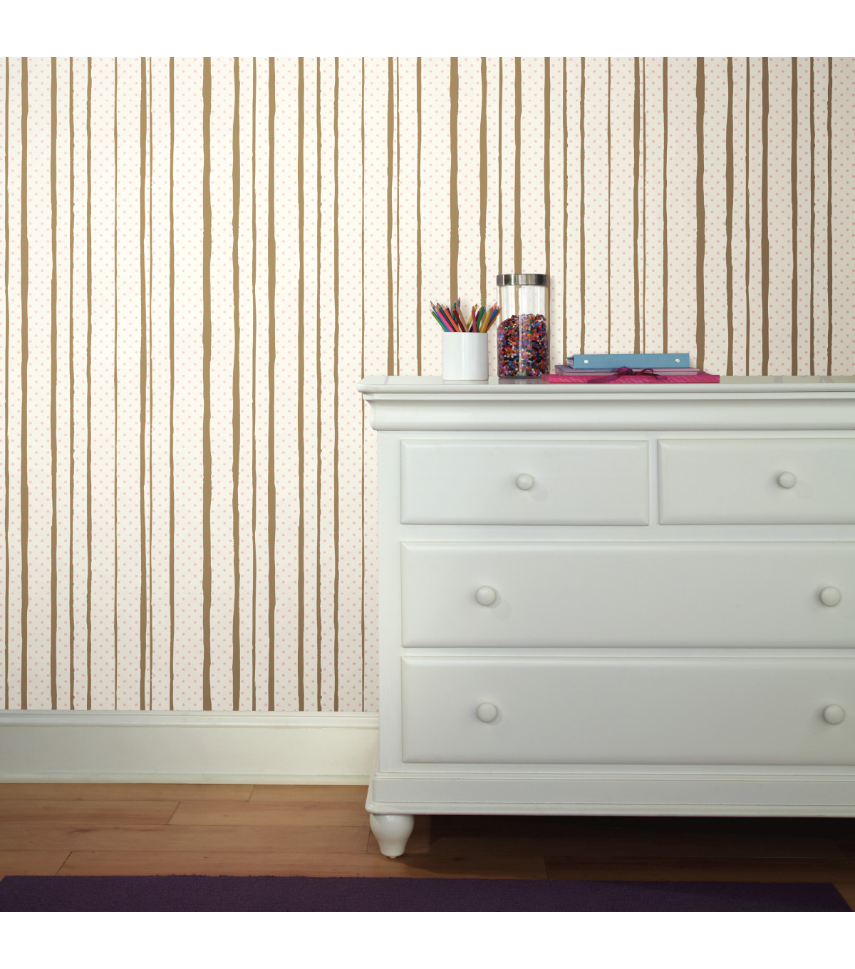 York Wallcoverings Wallpaper-Pink & Gold All Mixed Up