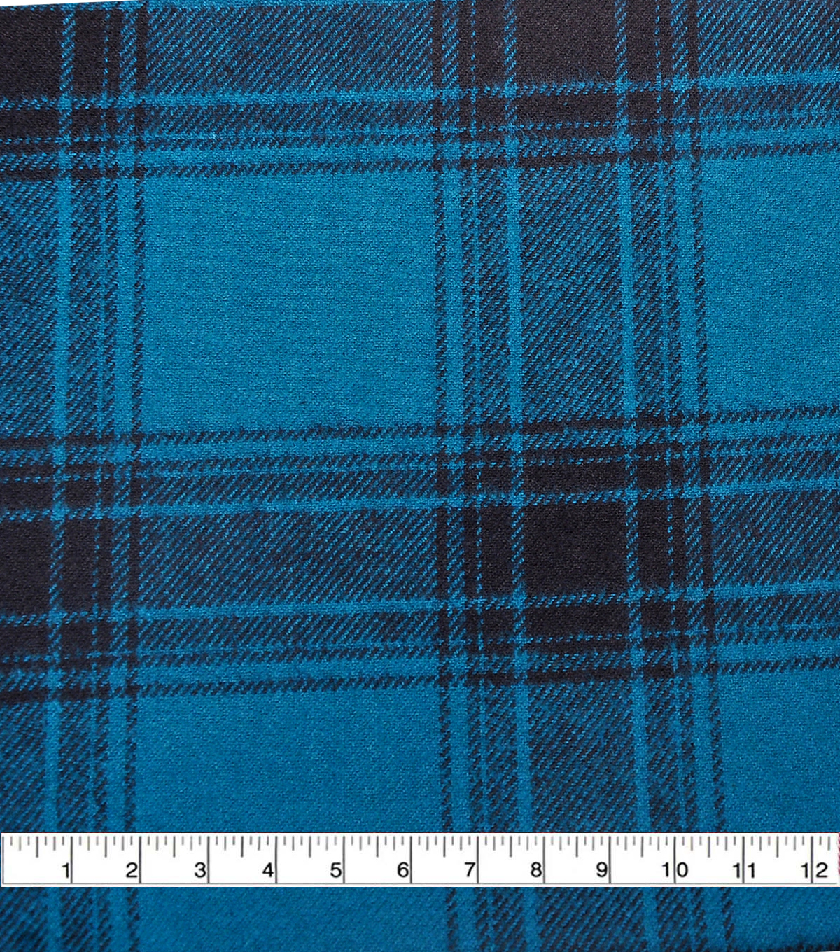 Plaiditudes Brushed Cotton Apparel Fabric -Black & Blue Plaid