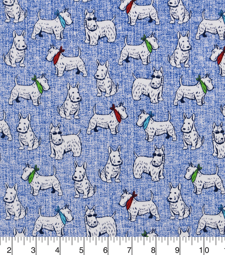 Snuggle Flannel Fabric -Scottie Dogs with Glasses