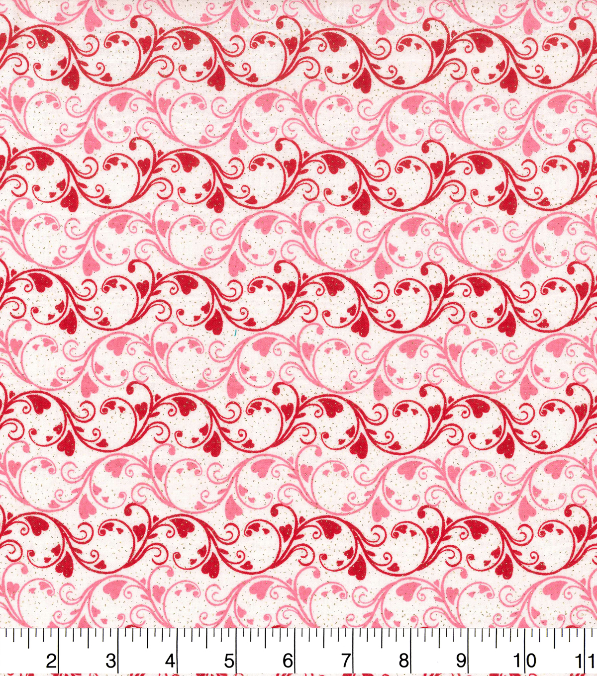 Holiday Inspirations Valentine\u0027s Day Fabric -Scrolly Hearts