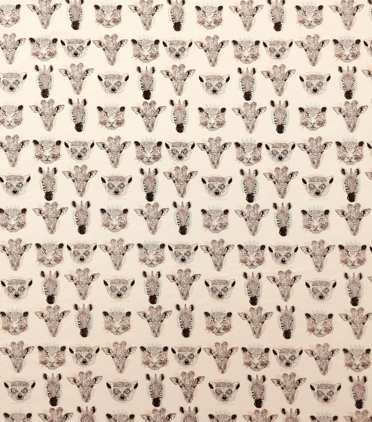 Doodles Juvenile Apparel Fabric-Jungle Animal Heads on Pink