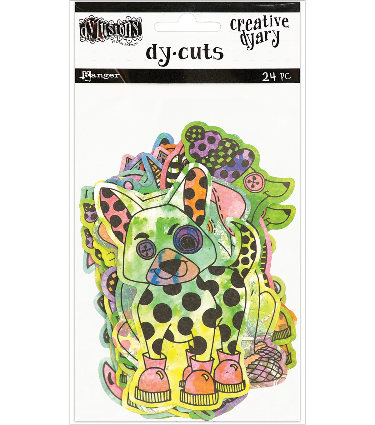 Dyan Reaveley\u0027s Dylusions 24 pk Creative Dyary Die Cuts-Colored Animals