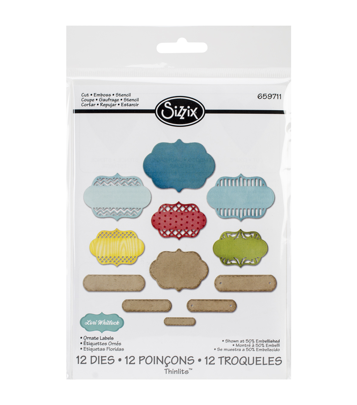 Sizzix Thinlits Lori Whitlock 12 Pack Dies-Ornate Labels