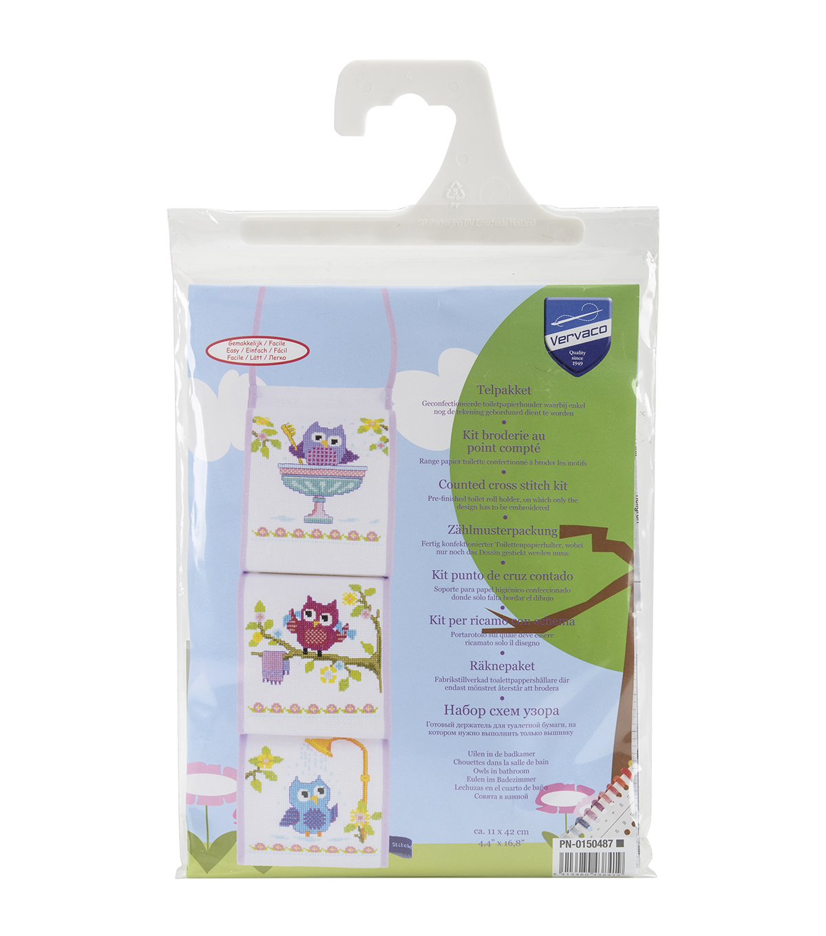 Vervaco Counted Cross Stitch Kit-Owls In Bathroom Tissue Roll Holder
