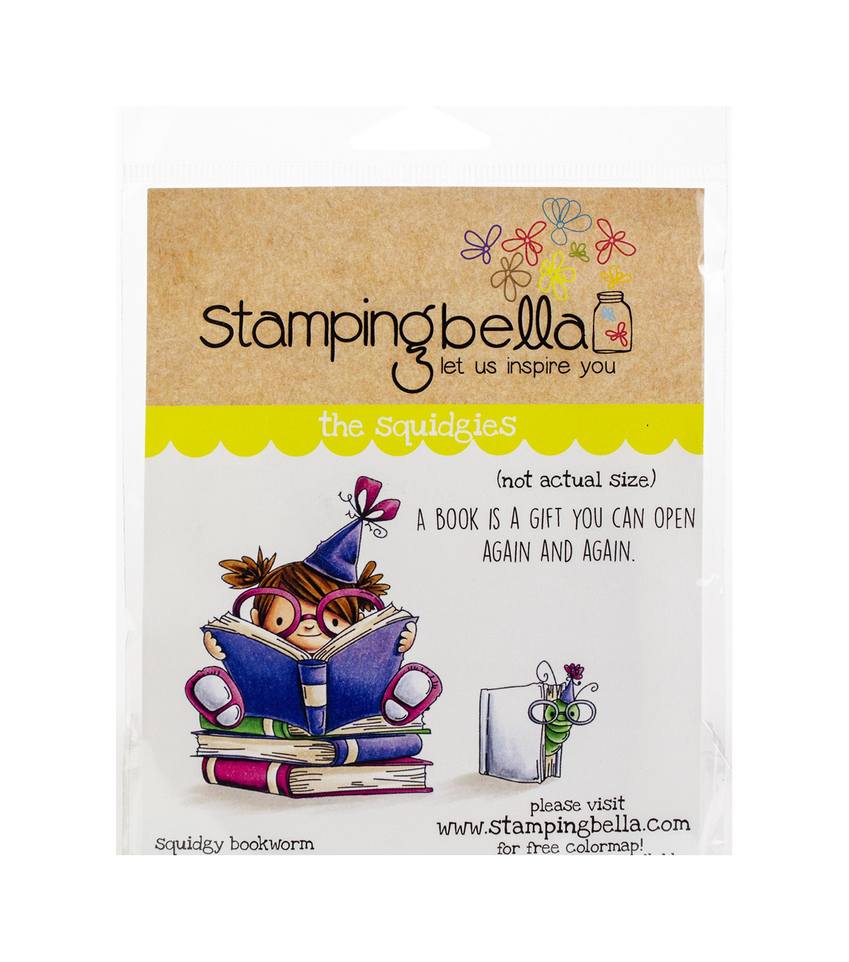 Stamping Bella 3 pk Rubber Cling Stamps-Squidgy Bookworm