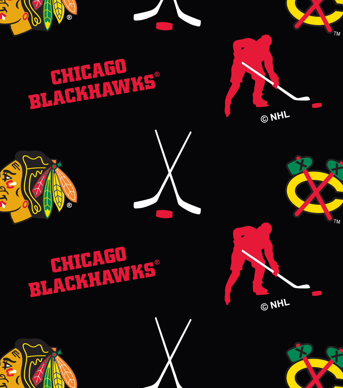 Chicago Blackhawks Fleece Fabric -Tossed