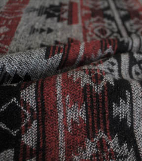 Boho Style Jacquard Fabric Red Black Aztec Joann