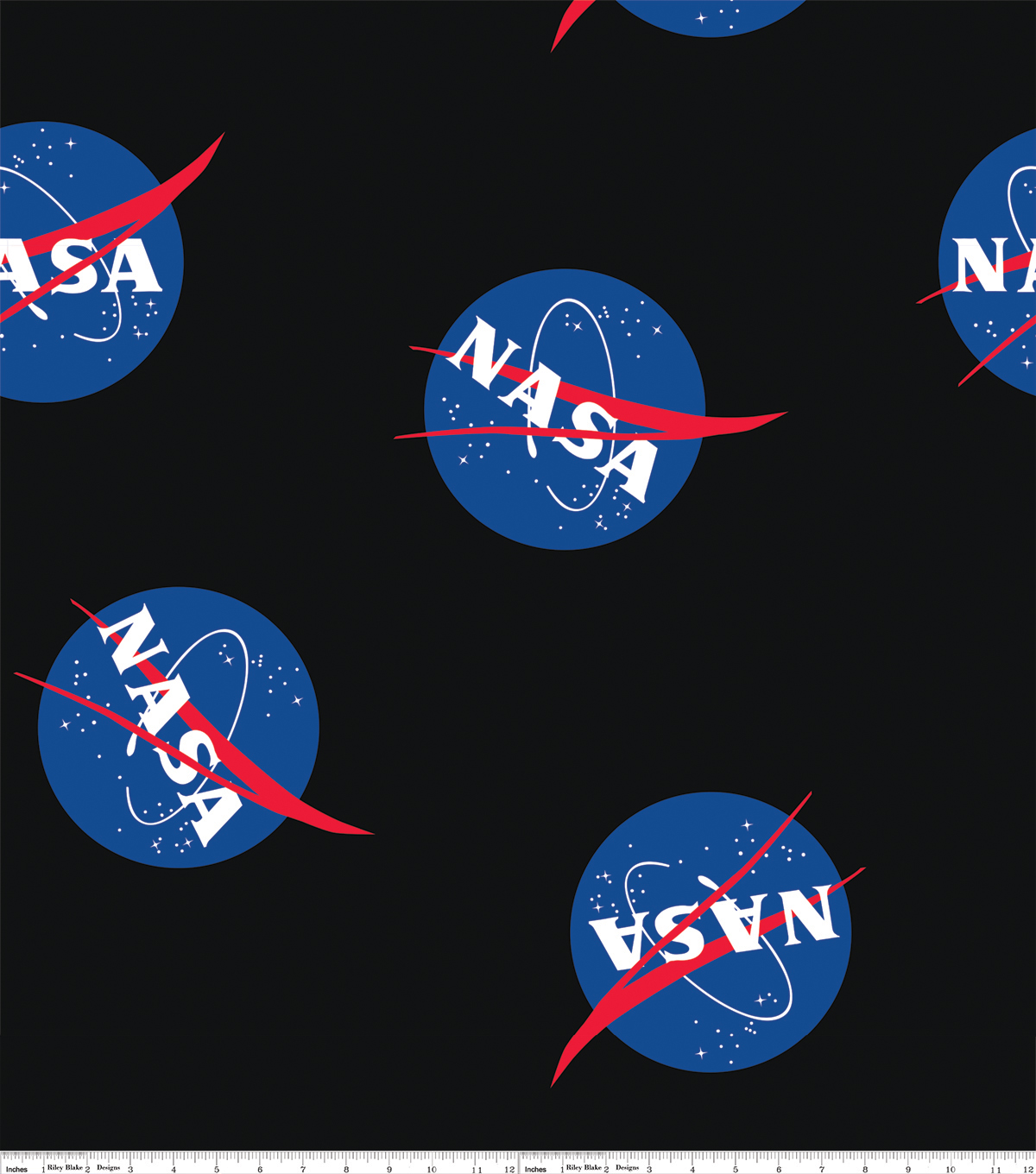 Nasa Fleece Fabric 59\u0022-Logo Black