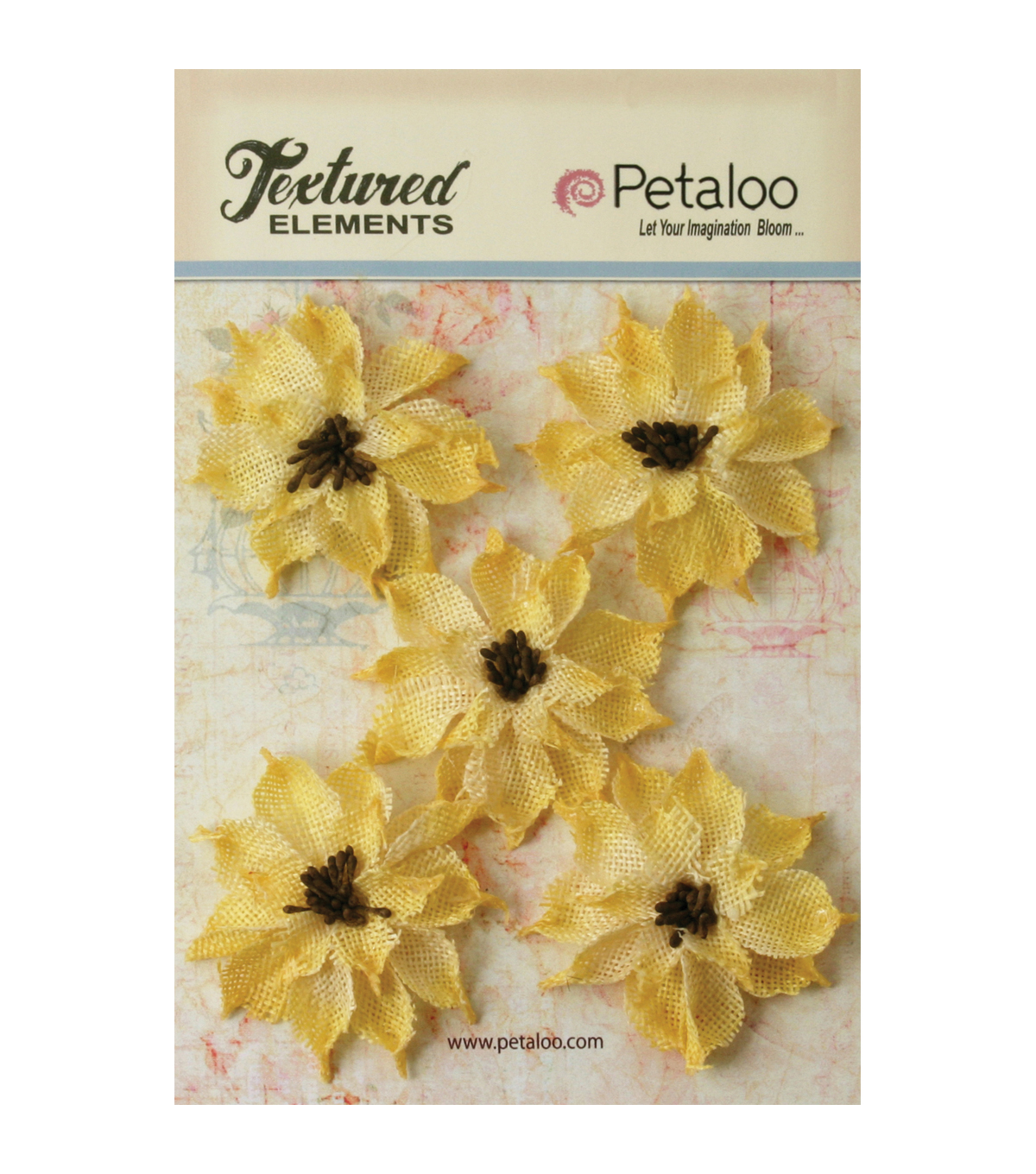 Petaloo Textured Elements Burlap Wild Sunflowers 2.5\u0027\u0027