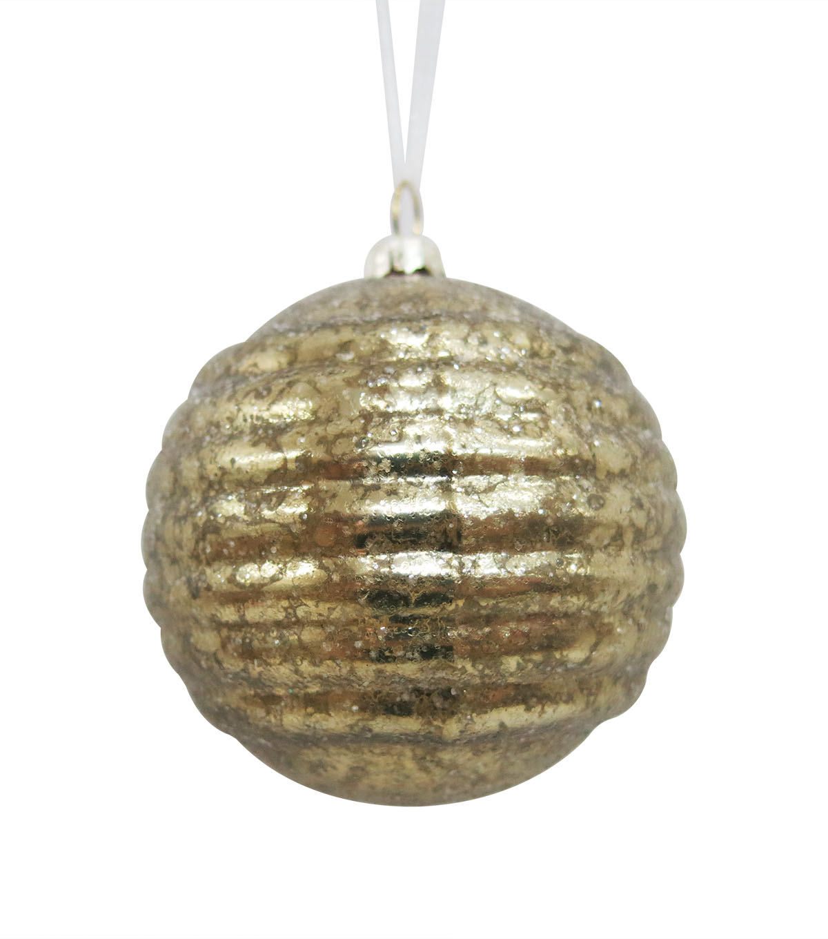 Maker\u0027s Holiday Christmas Glistening Pines Striped Glass Bulb Ornament