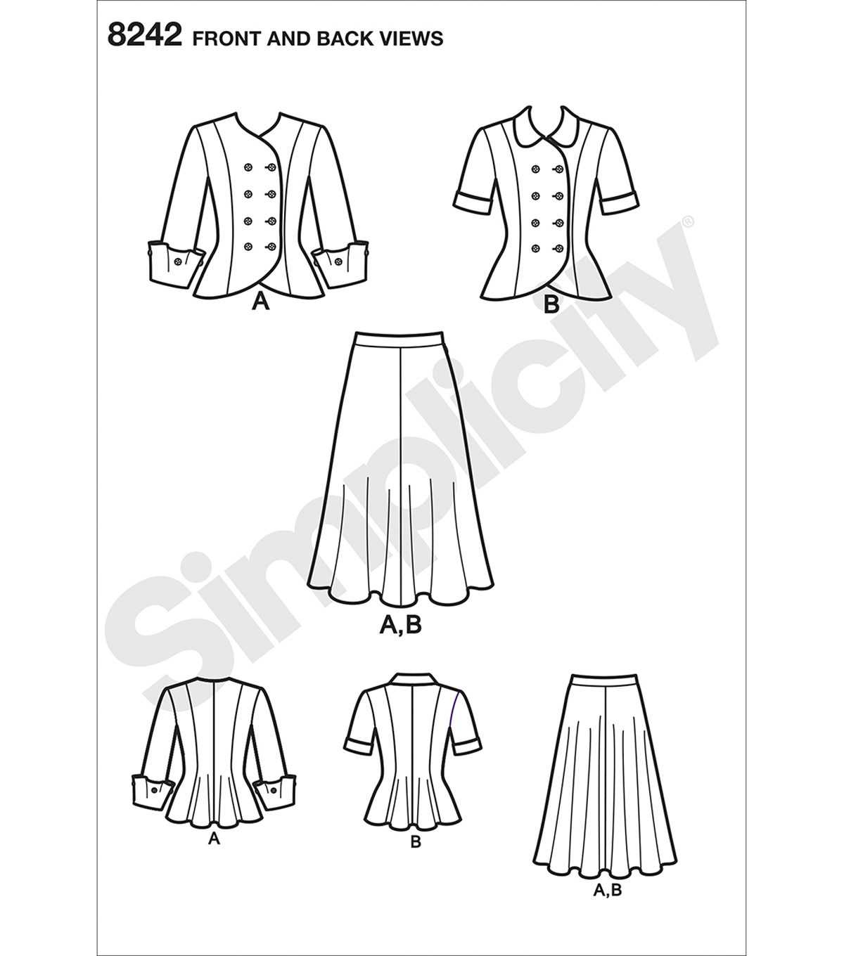 Simplicity Pattern 8242 Misses\u0027 & Plus Size Vintage 1940s Dress