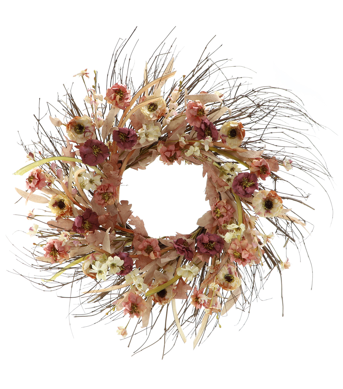 Blooming Autumn Paper Floral & Twig Wreath-Pink & Cream