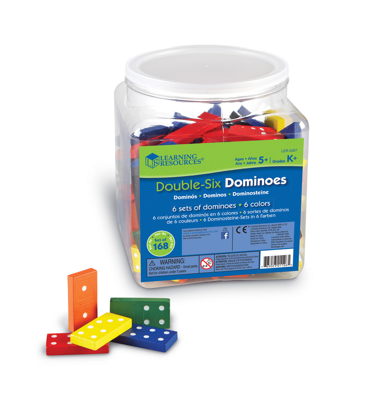 Learning Resources Double-Six Colored Dominoes