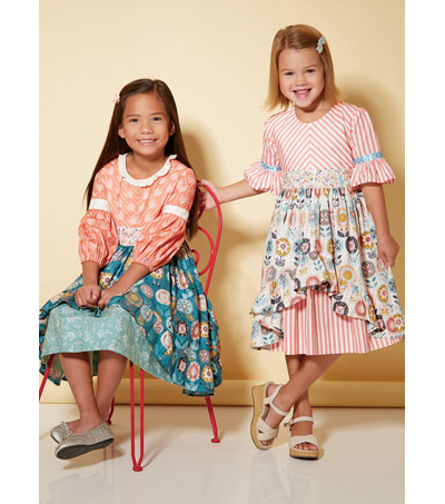McCall\u0027s Pattern M7528 Girls\u0027 Layered-Skirt Dresses-Size 6-7-8