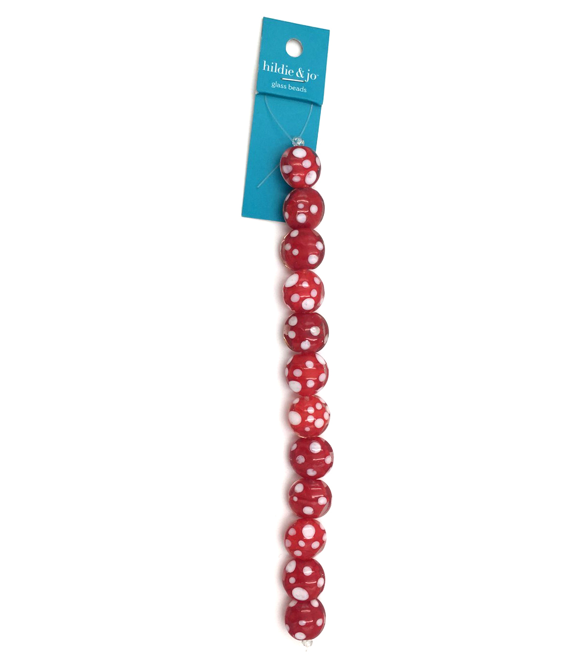 hildie & jo Round Strung Beads-Red with White Dots