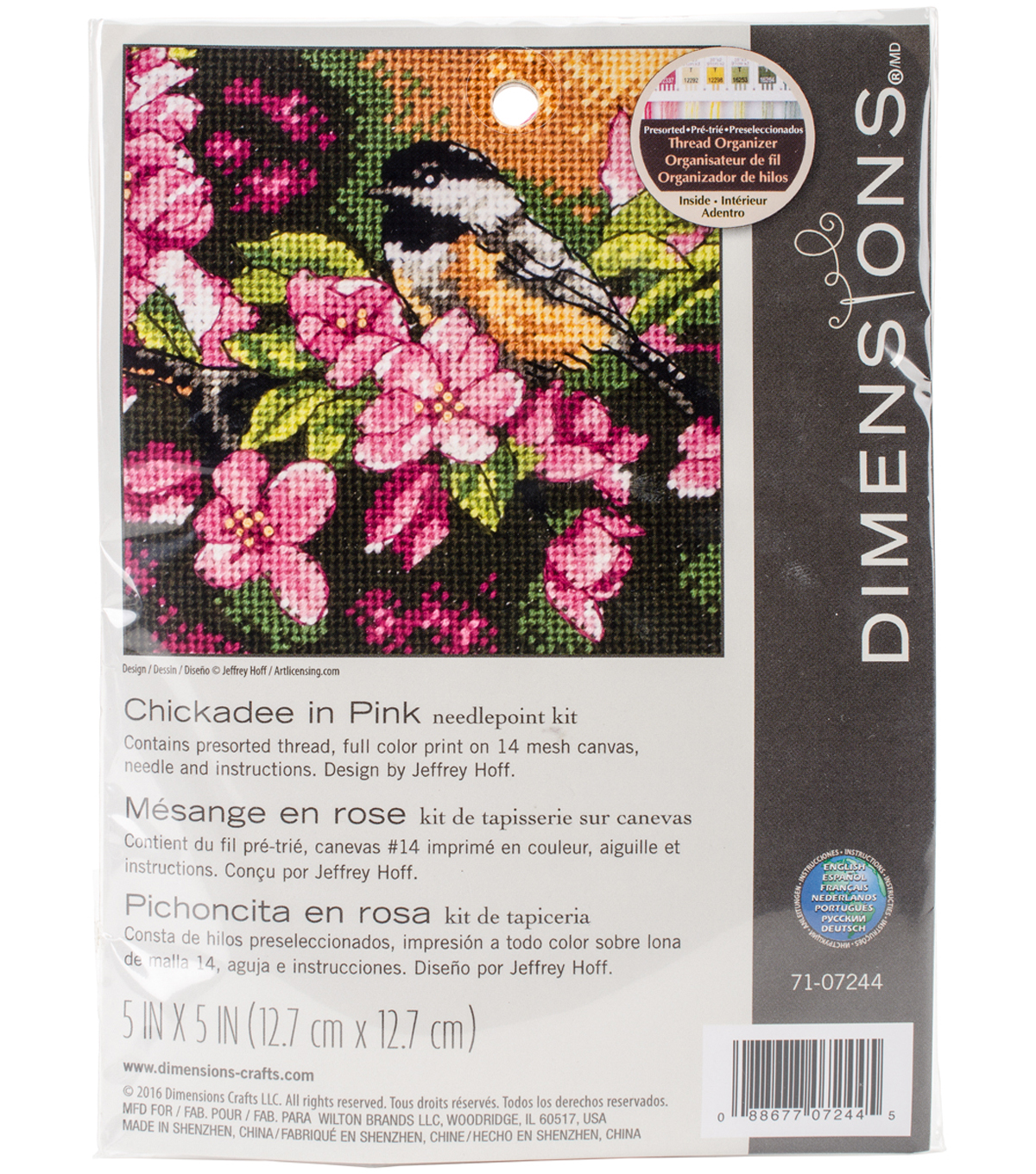 Chickadee In Pink Mini Needlepoint Kit-5\u0022X5\u0022 Stitched In Thread