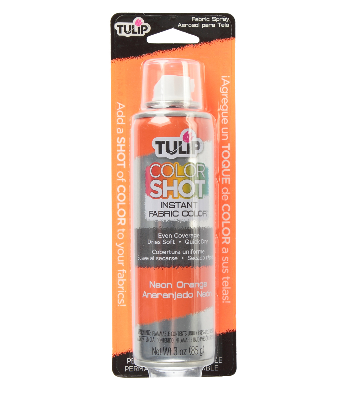 Tulip ColorShot Instant Fabric Color Spray 3oz, Neon Orange