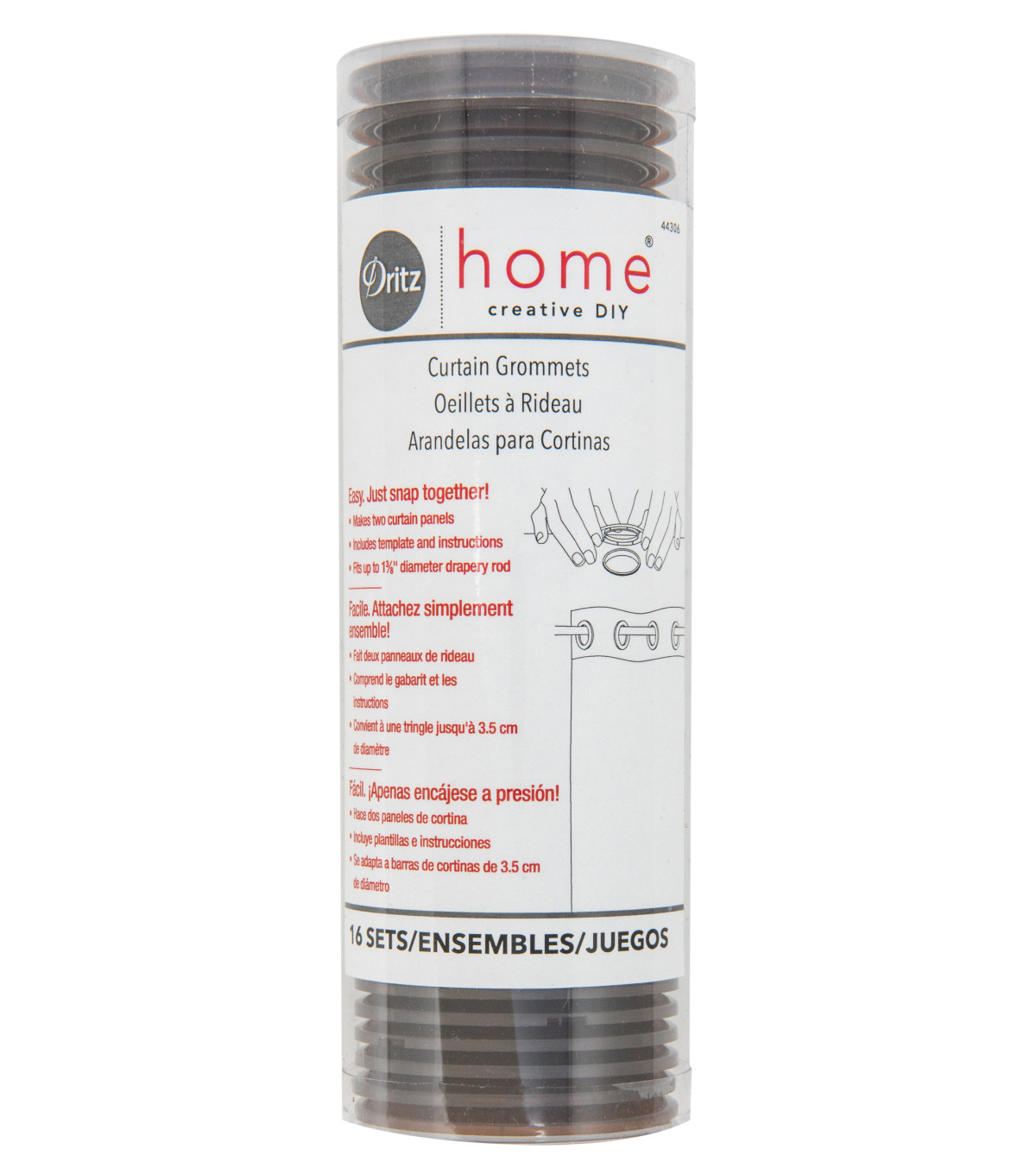 Dritz Home Creative DIY 16 pk 1-9/16\u0027\u0027 Curtain Grommets-Bronze