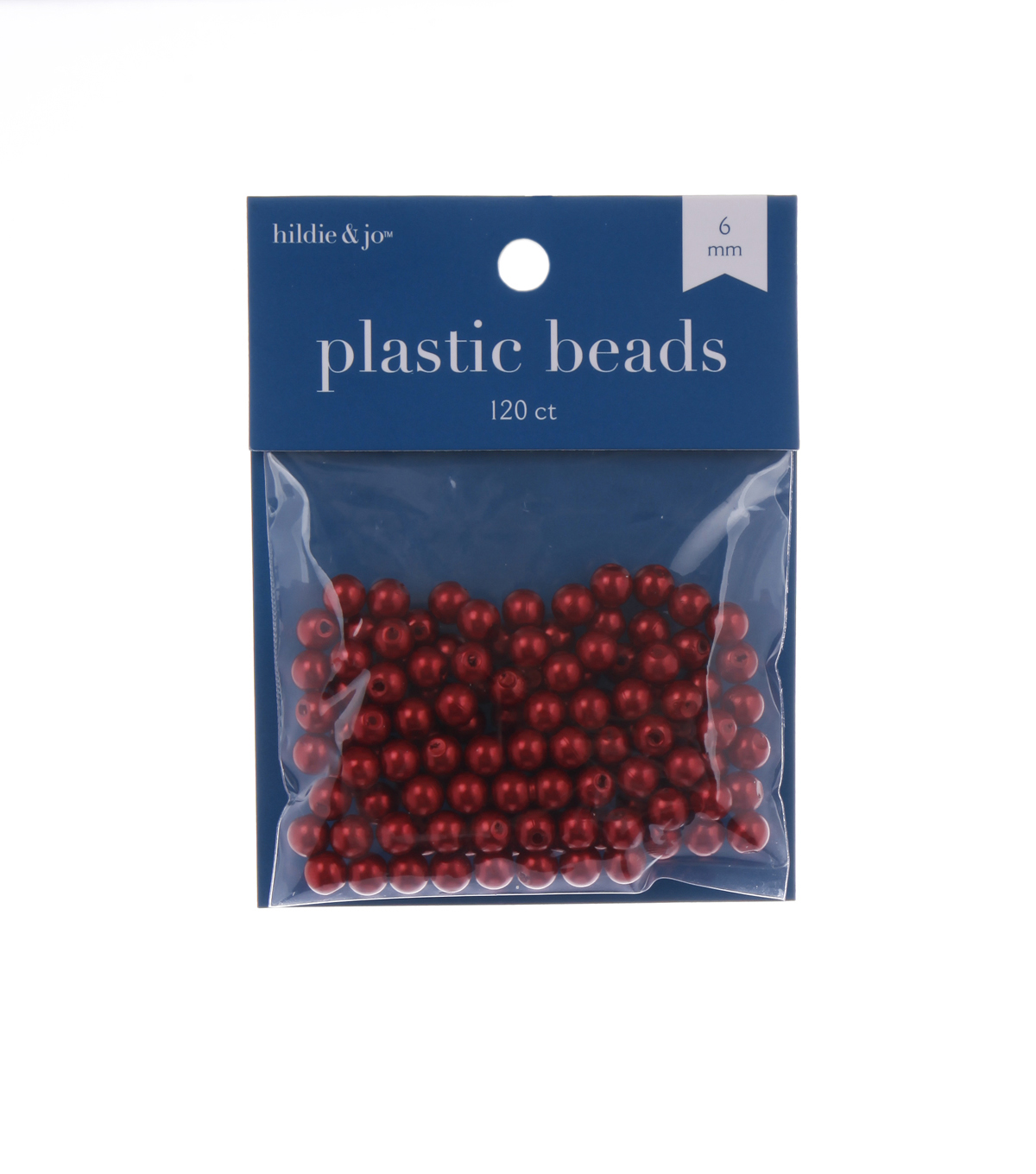 6mm Round Pearl Bead, Red, 120pcs/pkg.