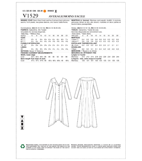 Vogue Pattern V1529 Misses\u0027 Portrait Collar, Pleated Coat-Size 6-14