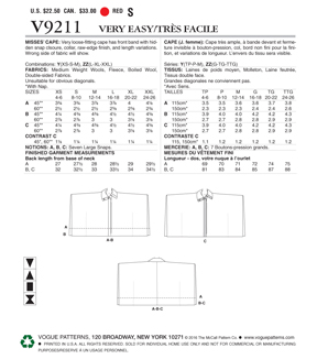 Vogue Pattern V9211 Misses\u0027 Collared, Snap-Front Capes-Size L-XL-XXL