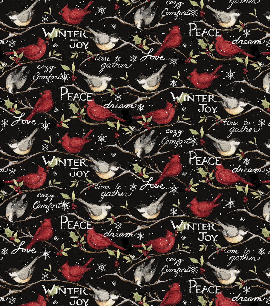Christmas Cotton Fabric-Winter Birds with Words