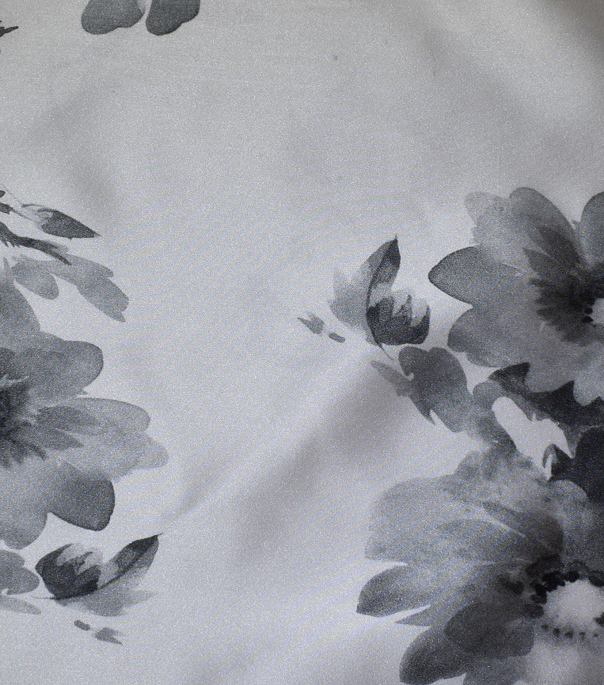 Gianna Printed Satin Fabric 54\u0027\u0027-Abstract Floral on White
