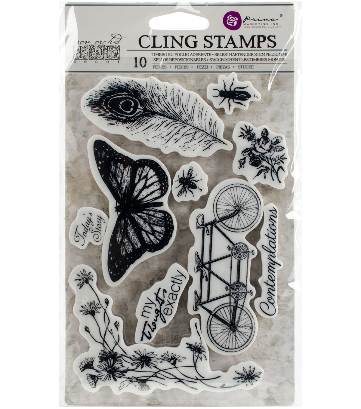 Prima Marketing Iron Orchid Designs 10 pk Cling Stamps-Nature