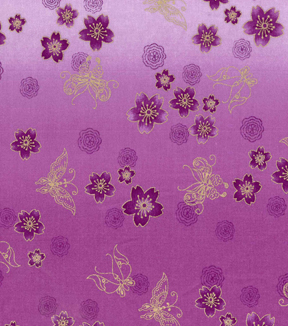 Asian Inspired Cotton Fabric 43\u0027\u0027-Metallic Butterfly & Floral on Purple