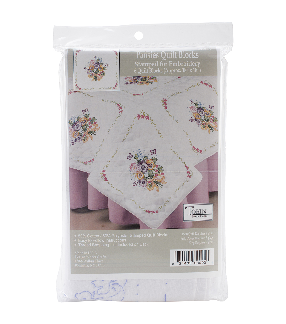 Tobin Stamped Pansies White Quilt Blocks