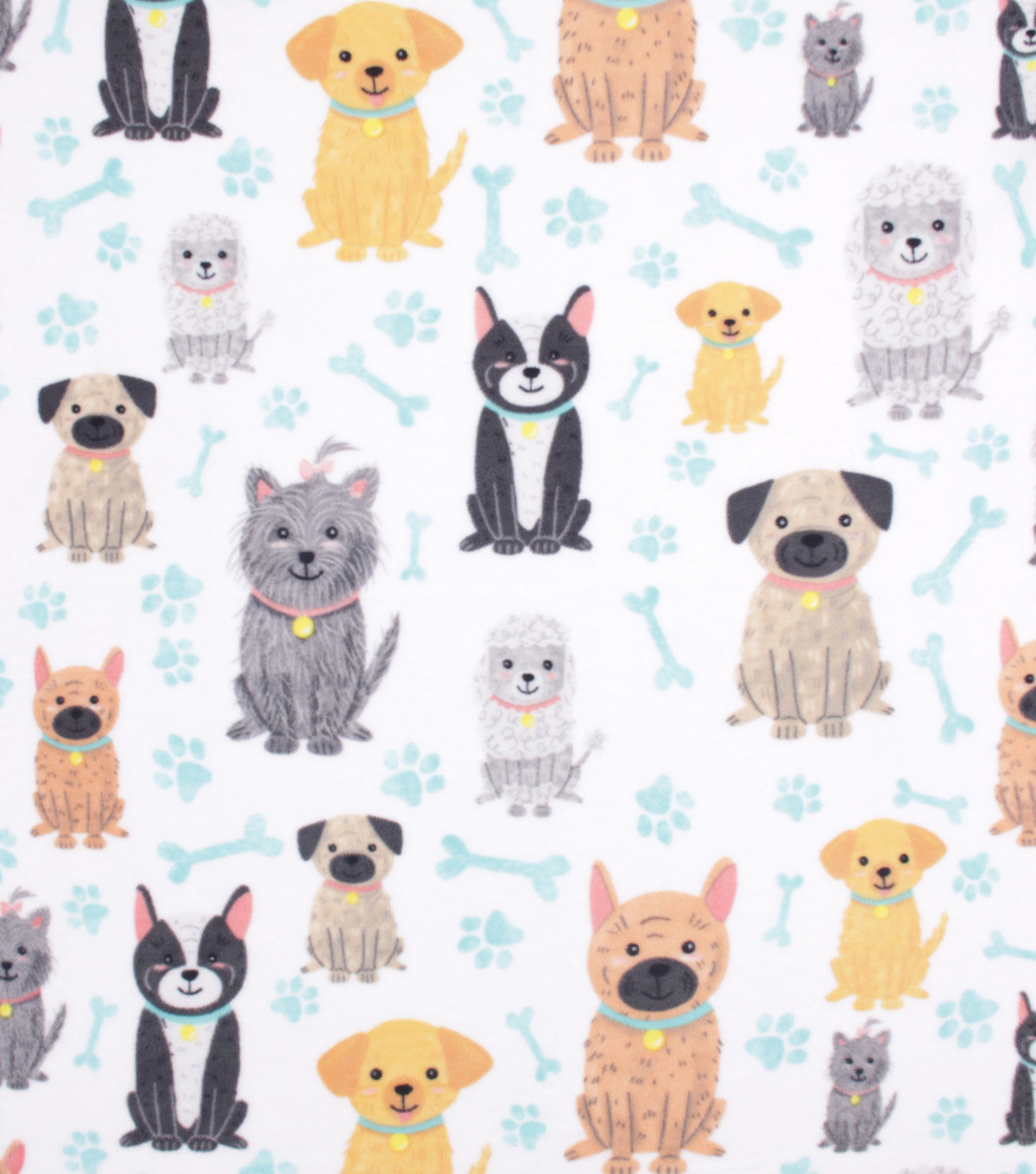 No Sew Fleece Throw 48\u0022-Cute Sitting Dogs
