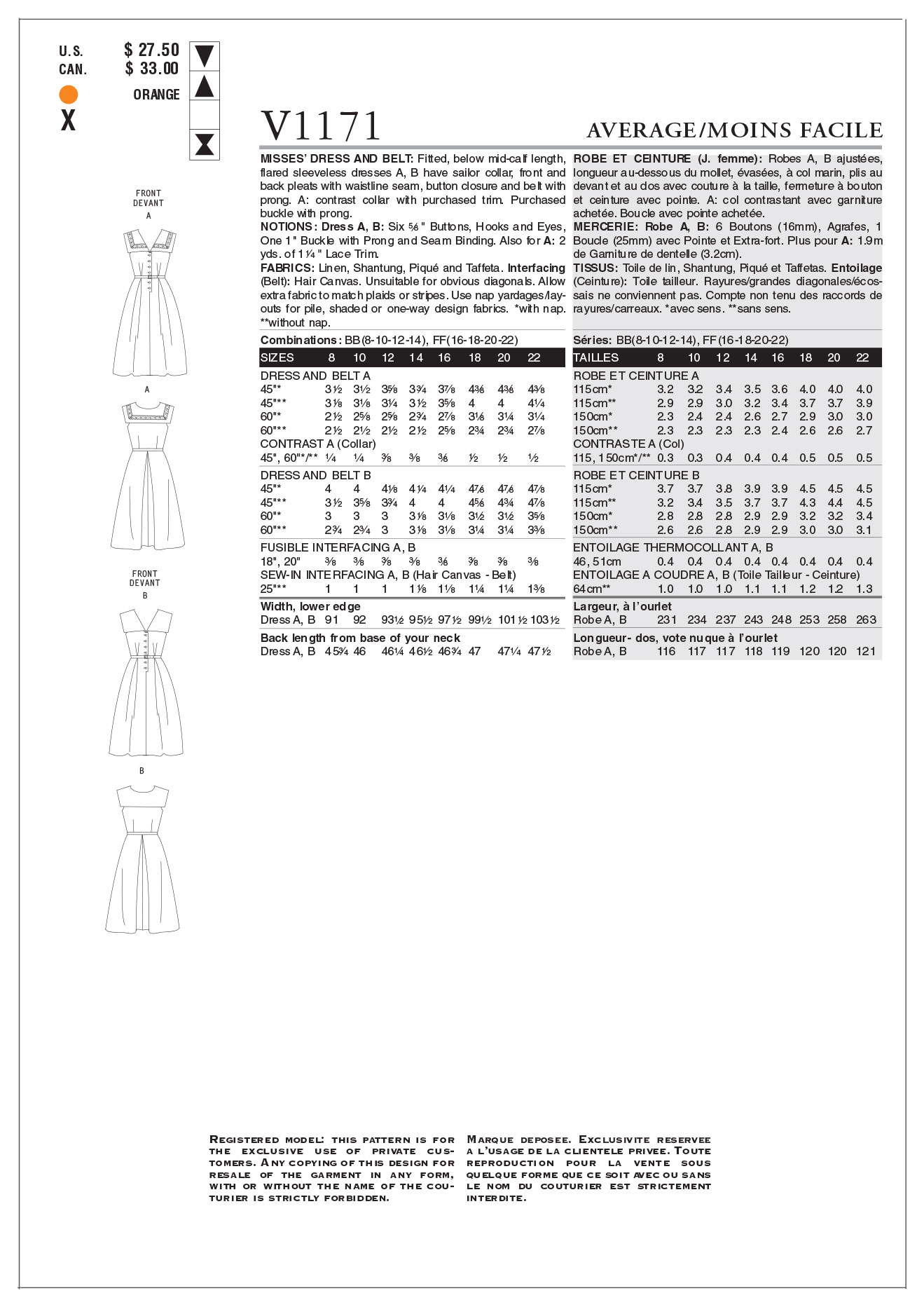 Mccall Pattern V1171 Bb (8-10-1-Vogue Pattern
