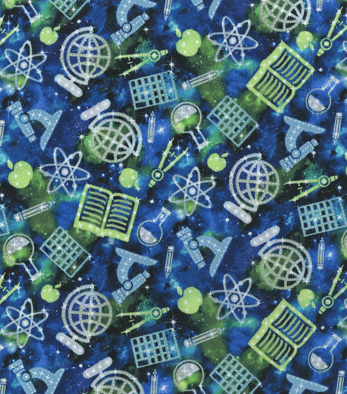 Novelty Cotton Fabric-School Supplies in Space