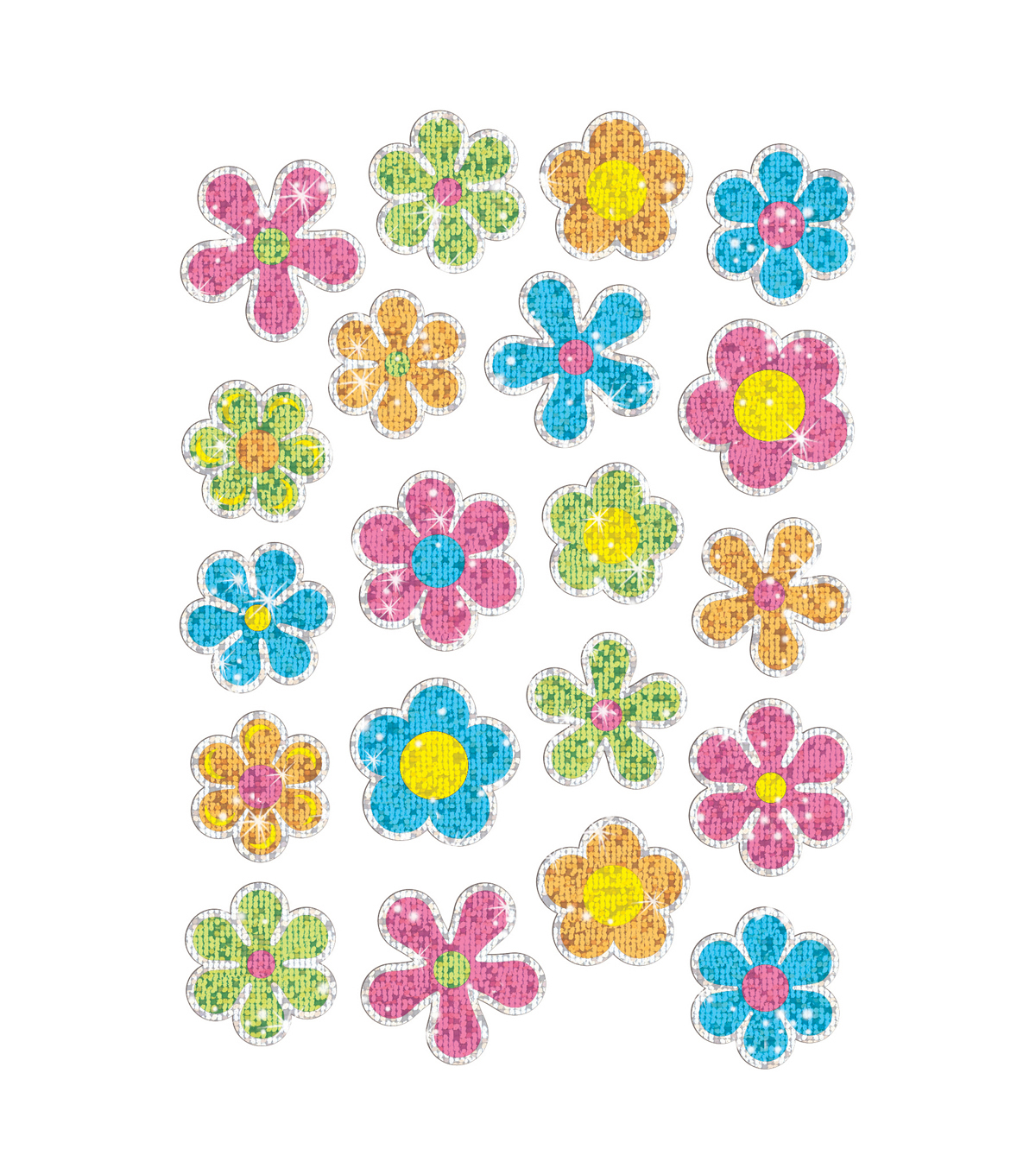 Flower Power Sparkle Stickers-Large 12 Packs