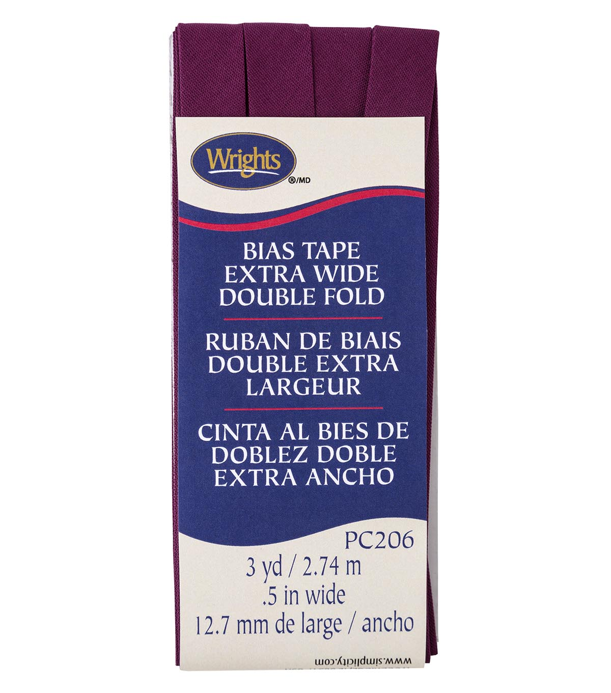 Wrights Extra Wide Double Fold Bias Tape 1/2\u0027\u0027x3 yds-Geranium