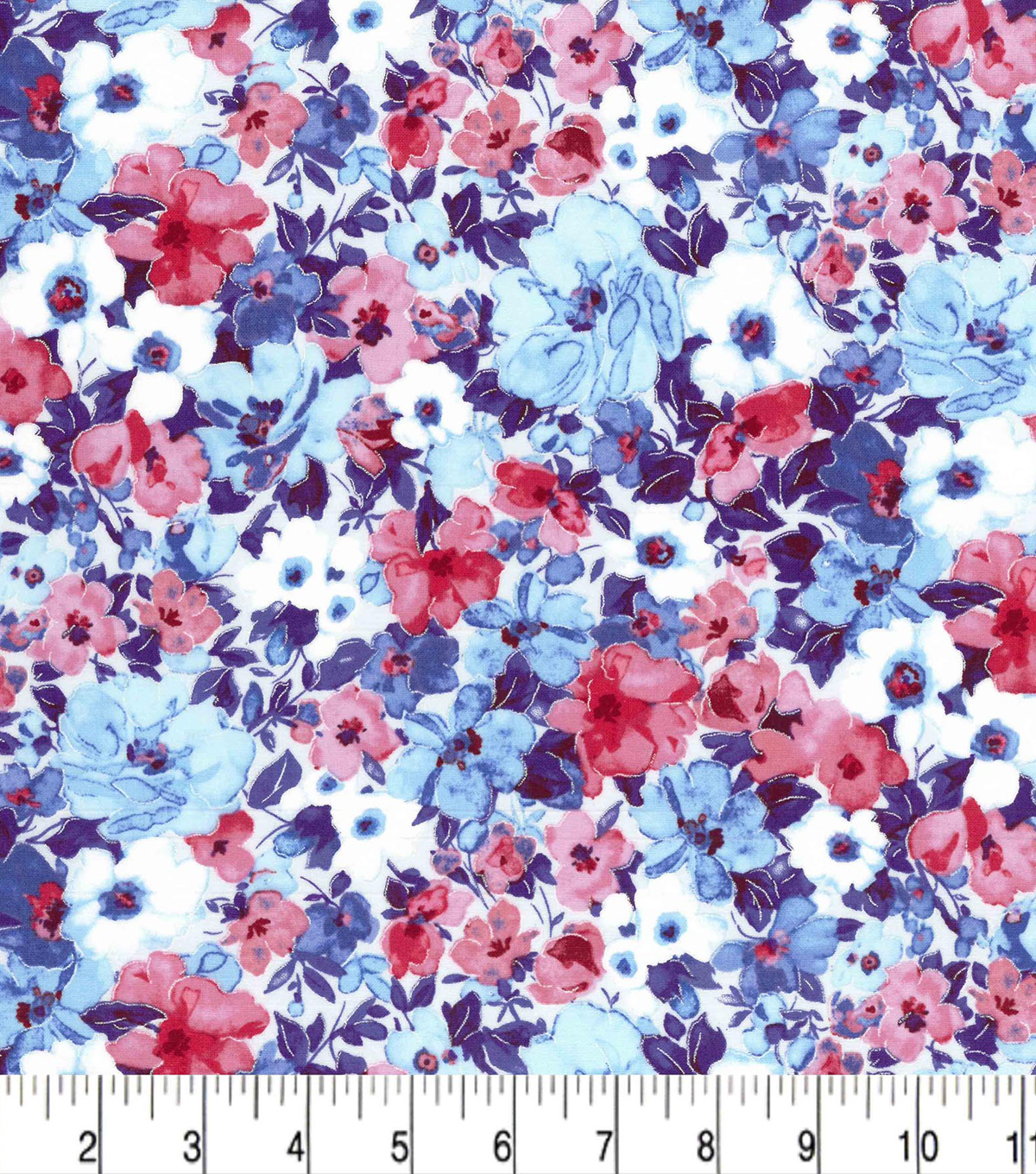 Premium Cotton Fabric -Packed Floral Blue Pearl