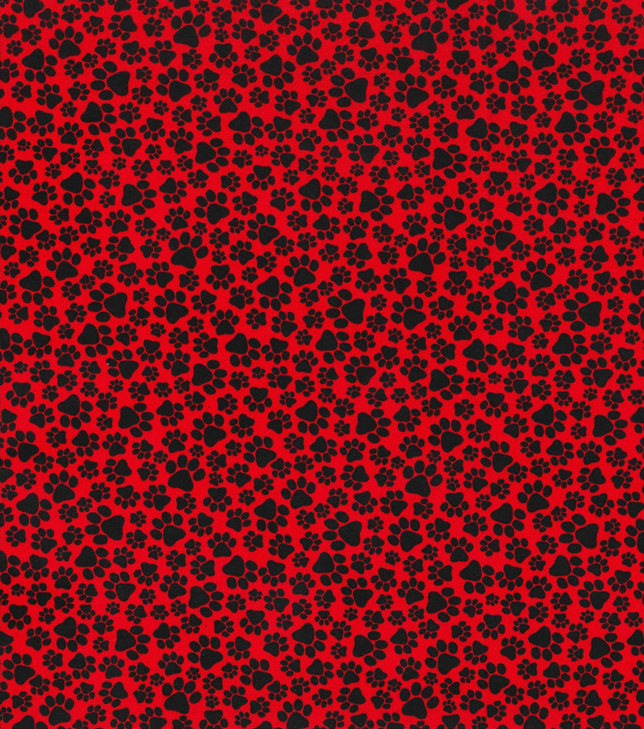 Novelty Cotton Fabric-Paws on Red