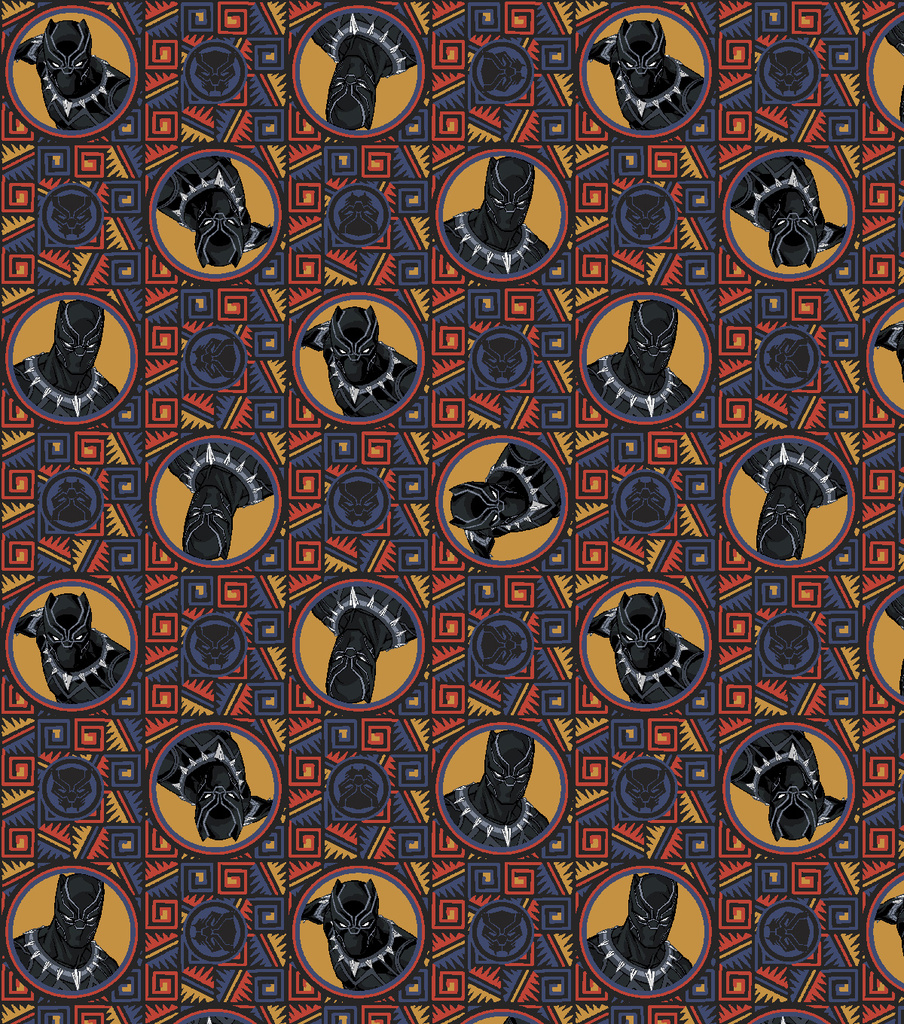 Marvel Black Panther Cotton Fabric-Badge
