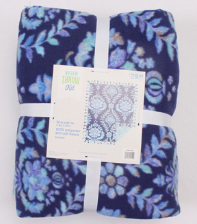 No Sew Fleece Throw 72\u0027\u0027-Blue Damask Print