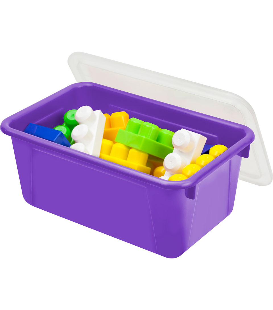 Storex Small Cubby Bin with Cover-Purple